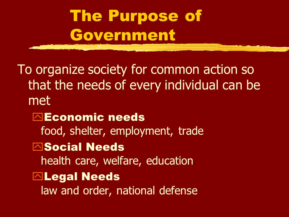 The Purpose of Government To organize society for common action so that the needs of every individual can be met  Economic needs food, shelter, employment, trade  Social Needs health care, welfare, education  Legal Needs law and order, national defense