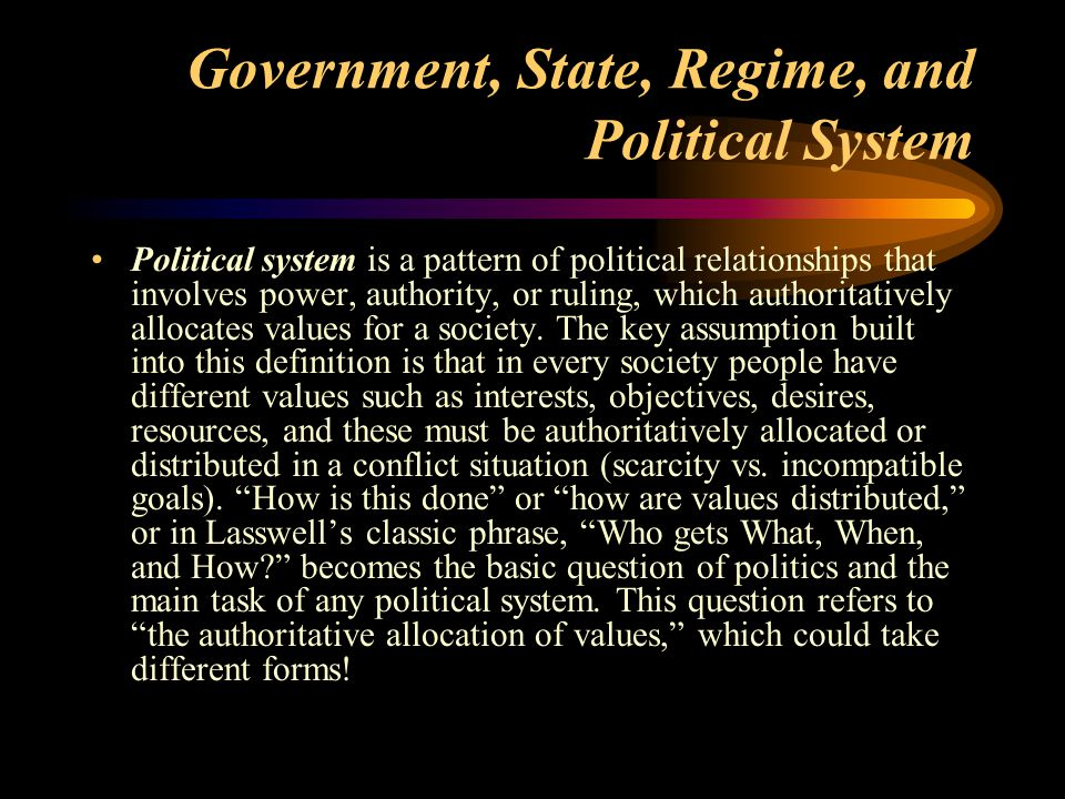 Classification Schemes for Political Systems Schemes for classifying political systems into different types are as old as the study of politics itself.