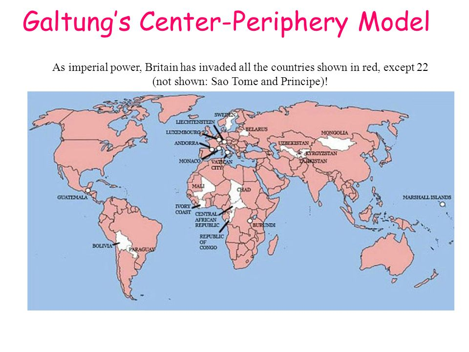 Galtung's Center-Periphery Model As imperial power, Britain has invaded all the countries shown in red, except 22 (not shown: Sao Tome and Principe)!