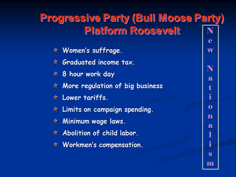 Progressive Party (Bull Moose Party) Platform Roosevelt Women's suffrage.