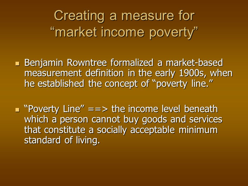 IFPRI Methods of Fixing Poverty Lines Cost-of-basic-needs method (Food-share method) Cost of basic food needs Cost of basic non-food needs Food-energy method Expenditure level that meets the food energy requirement Based on calorie-income relationships Fitting and tracing calorie-expenditure graph