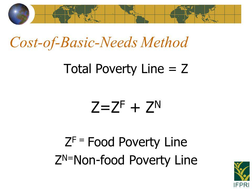 IFPRI Cost-of-Basic-Needs Method Total Poverty Line = Z Z=Z F + Z N Z F = Food Poverty Line Z N= Non-food Poverty Line