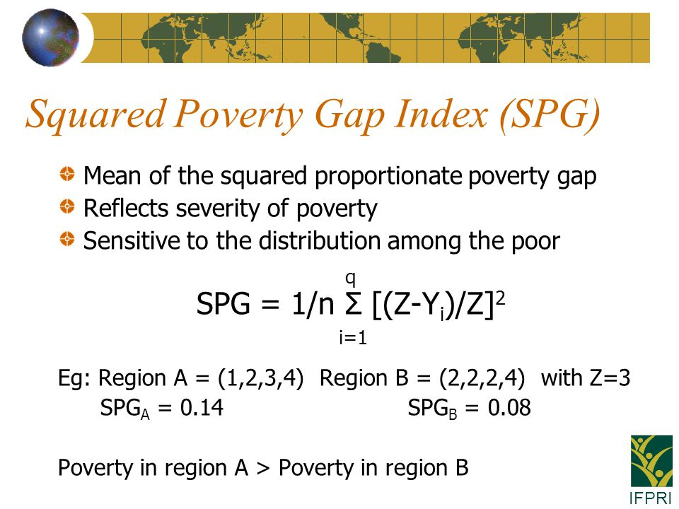 IFPRI Squared Poverty Gap Index (SPG) Mean of the squared proportionate poverty gap Reflects severity of poverty Sensitive to the distribution among the poor q SPG = 1/n Σ [(Z-Y i )/Z] 2 i=1 Eg: Region A = (1,2,3,4) Region B = (2,2,2,4) with Z=3 SPG A = 0.14 SPG B = 0.08 Poverty in region A > Poverty in region B
