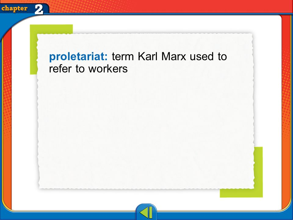 Vocab20 proletariat: term Karl Marx used to refer to workers