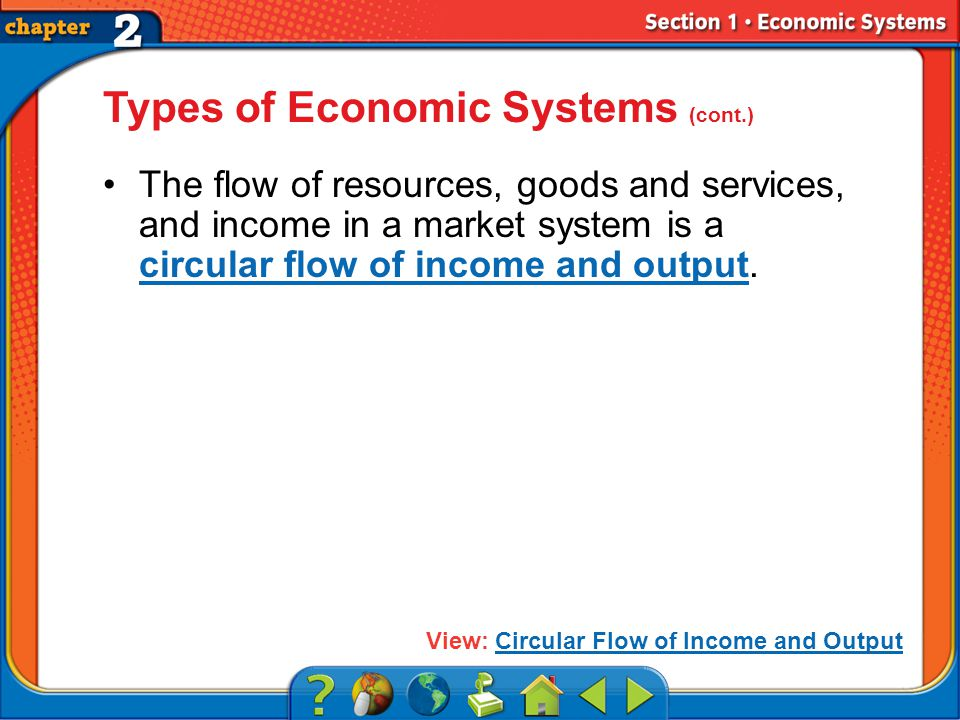 Section 1 Types of Economic Systems (cont.) The flow of resources, goods and services, and income in a market system is a circular flow of income and output.