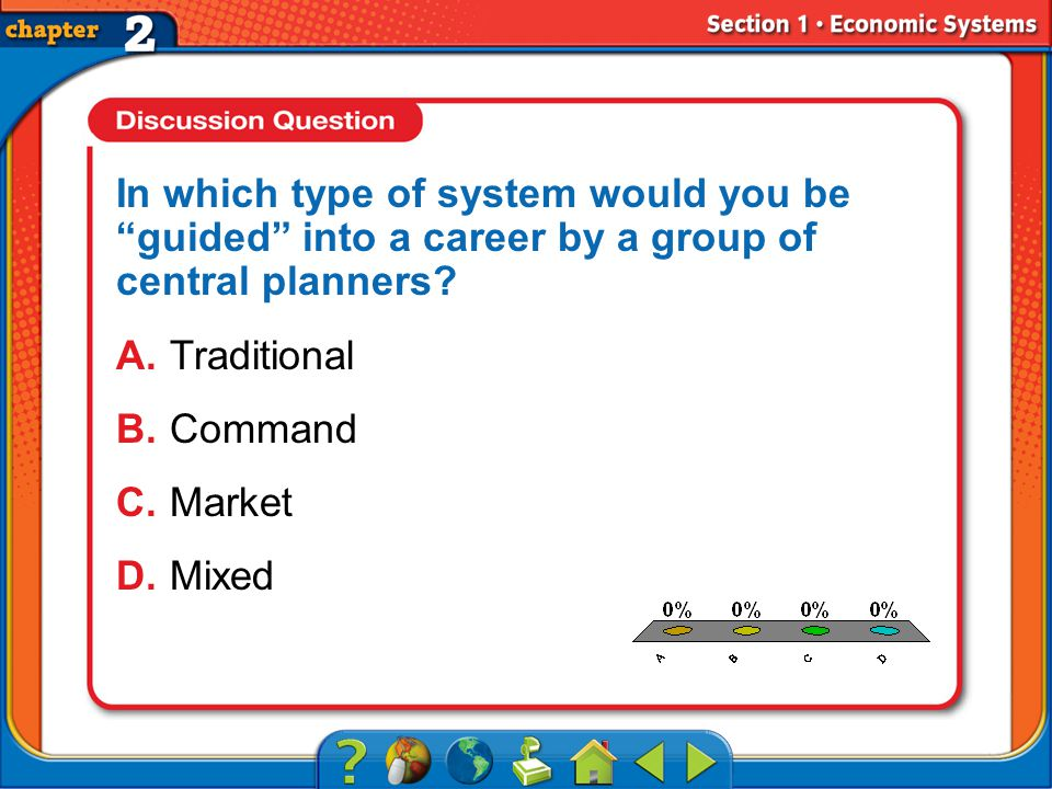 A.A B.B C.C D.D Section 1 In which type of system would you be guided into a career by a group of central planners.