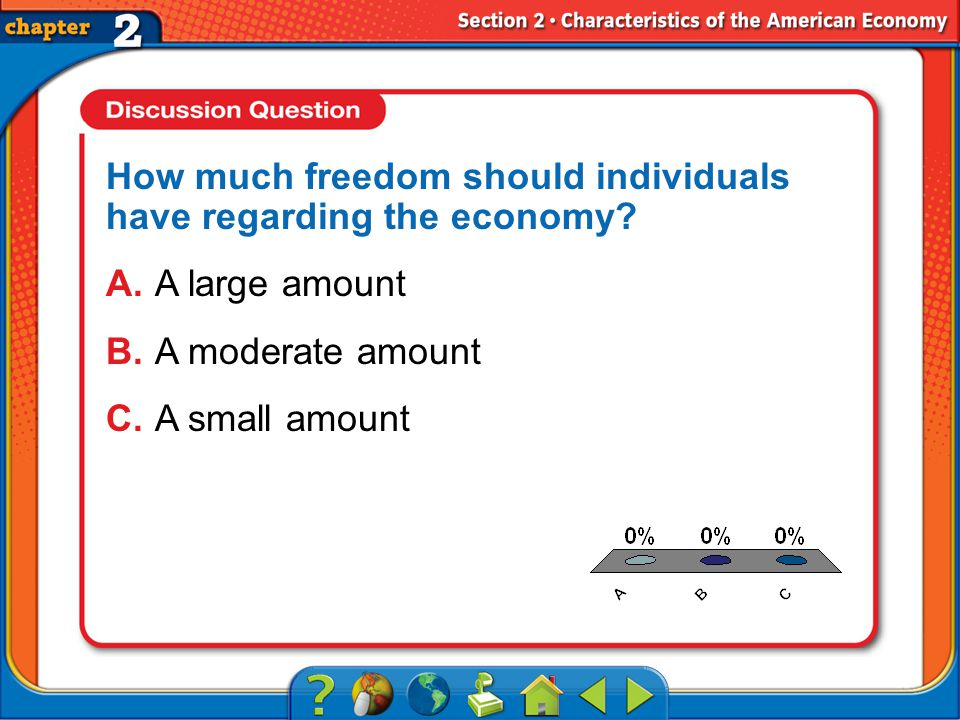 A.A B.B C.C Section 2 How much freedom should individuals have regarding the economy.