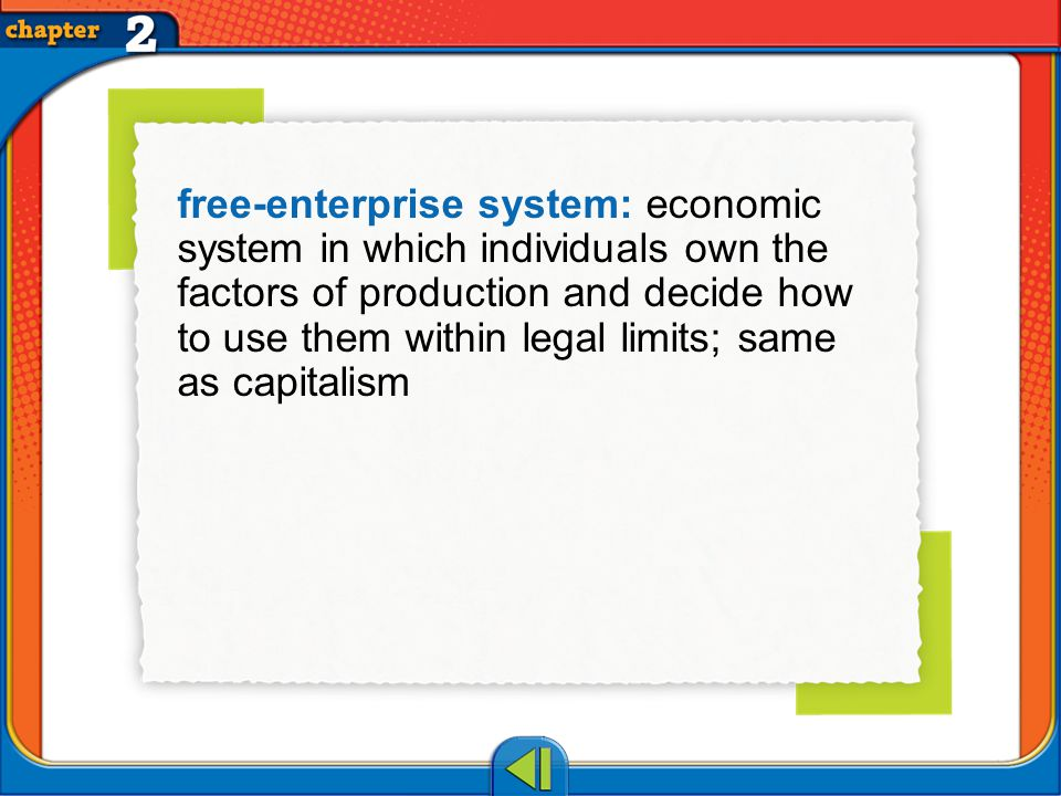 Vocab10 free-enterprise system: economic system in which individuals own the factors of production and decide how to use them within legal limits; same as capitalism