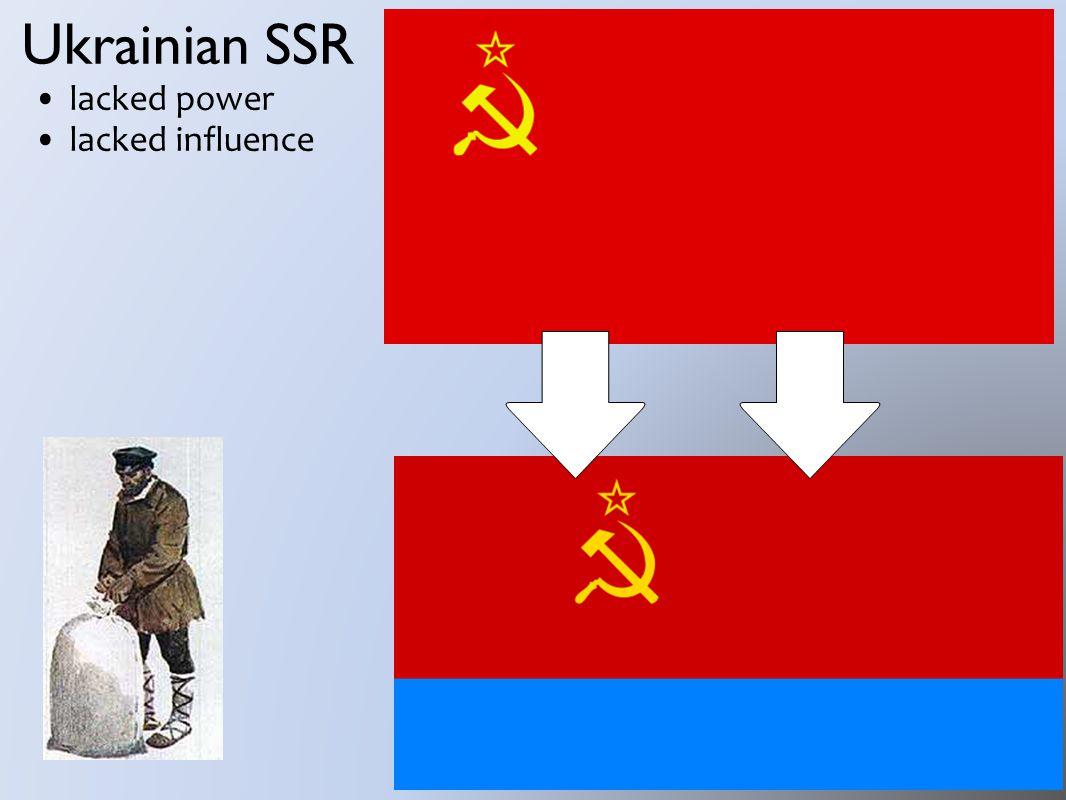 Ukrainian SSR lacked power lacked influence