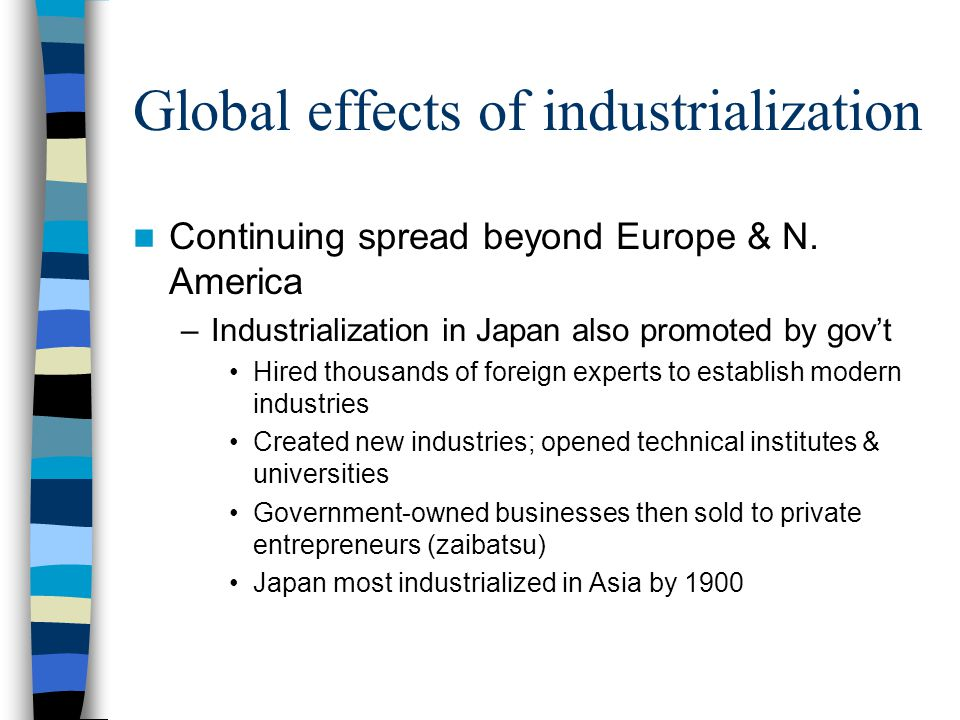 Global effects of industrialization Continuing spread beyond Europe & N. America –Industrialization in Japan also promoted by gov't Hired thousands of