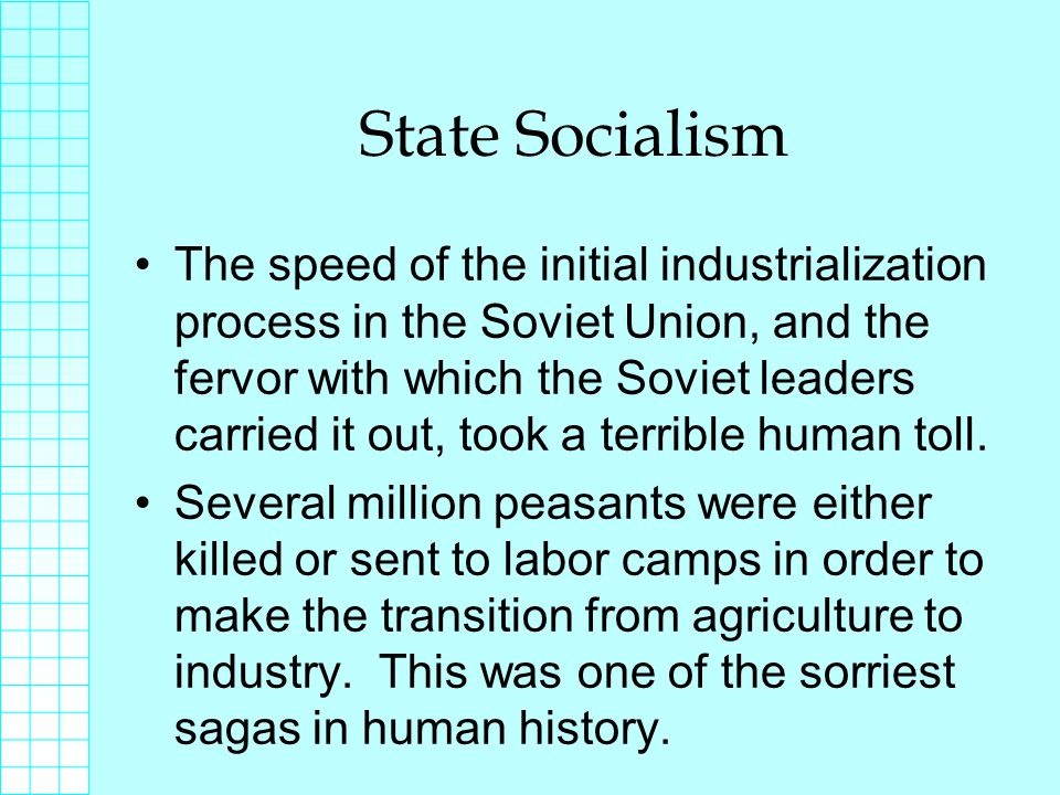 State Socialism The speed of the initial industrialization process in the Soviet Union, and the fervor with which the Soviet leaders carried it out, took a terrible human toll.