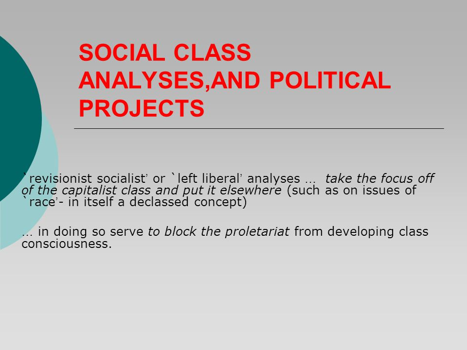 SOCIAL CLASS ANALYSES,AND POLITICAL PROJECTS `revisionist socialist ' or `left liberal ' analyses … take the focus off of the capitalist class and put it elsewhere (such as on issues of `race ' - in itself a declassed concept) … in doing so serve to block the proletariat from developing class consciousness.