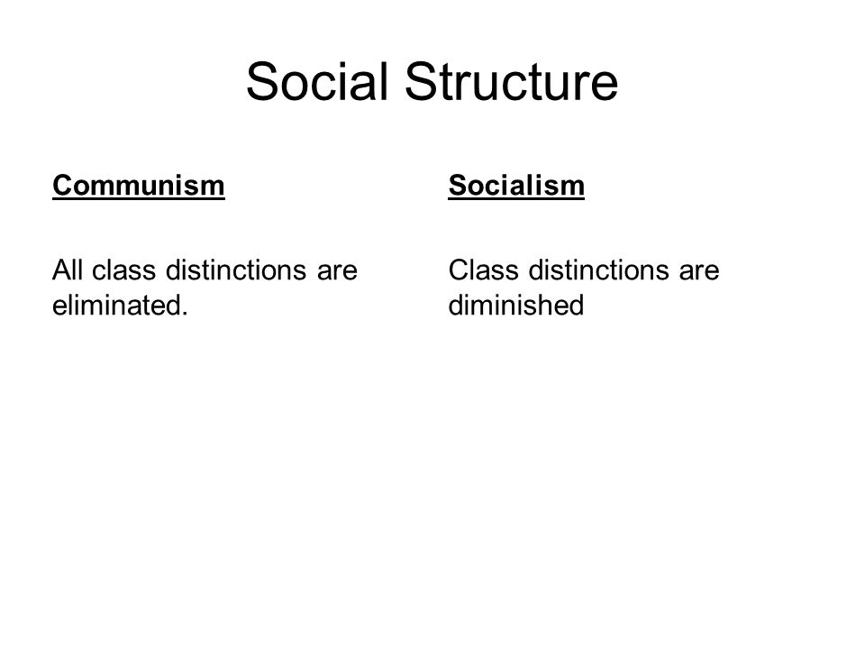 Social Structure Communism All class distinctions are eliminated. Socialism Class distinctions are diminished