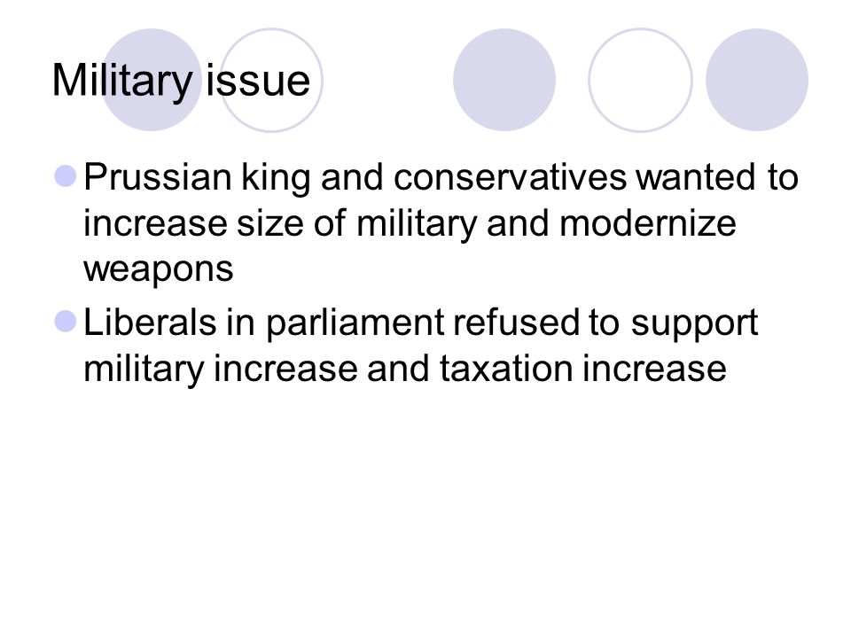 Military issue Prussian king and conservatives wanted to increase size of military and modernize weapons Liberals in parliament refused to support military increase and taxation increase