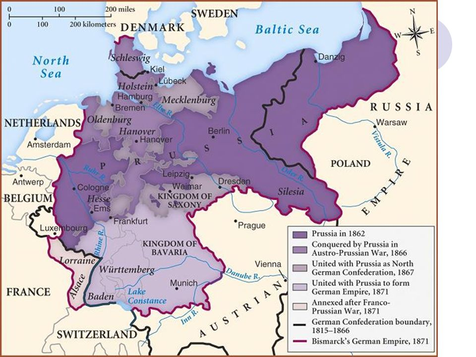 Prussia vs. Denmark (1864) Schleswig and Holstein – two duchies ruled by Denmark but not official part of kingdom – large German populations 1863 – De