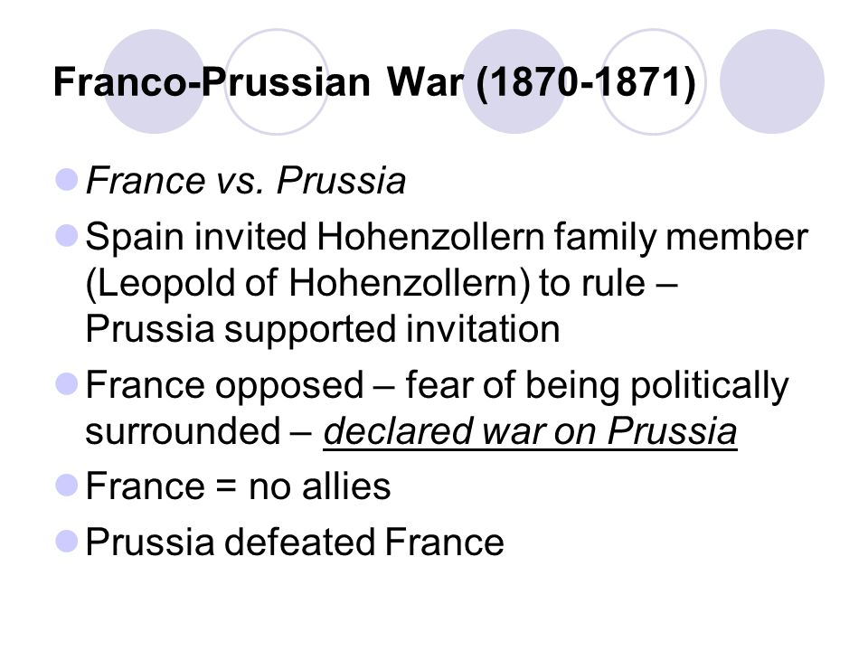 Franco-Prussian War (1870-1871) France vs.