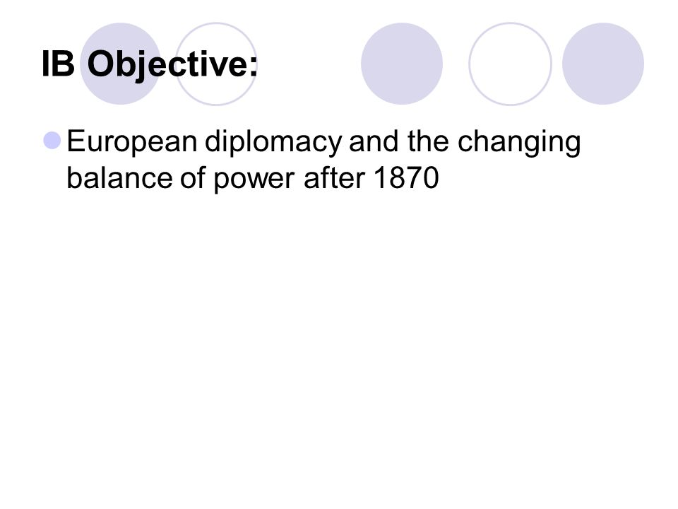 IB Objective: European diplomacy and the changing balance of power after 1870