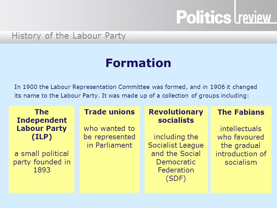 History of the Labour Party Formation In 1900 the Labour Representation Committee was formed, and in 1906 it changed its name to the Labour Party.
