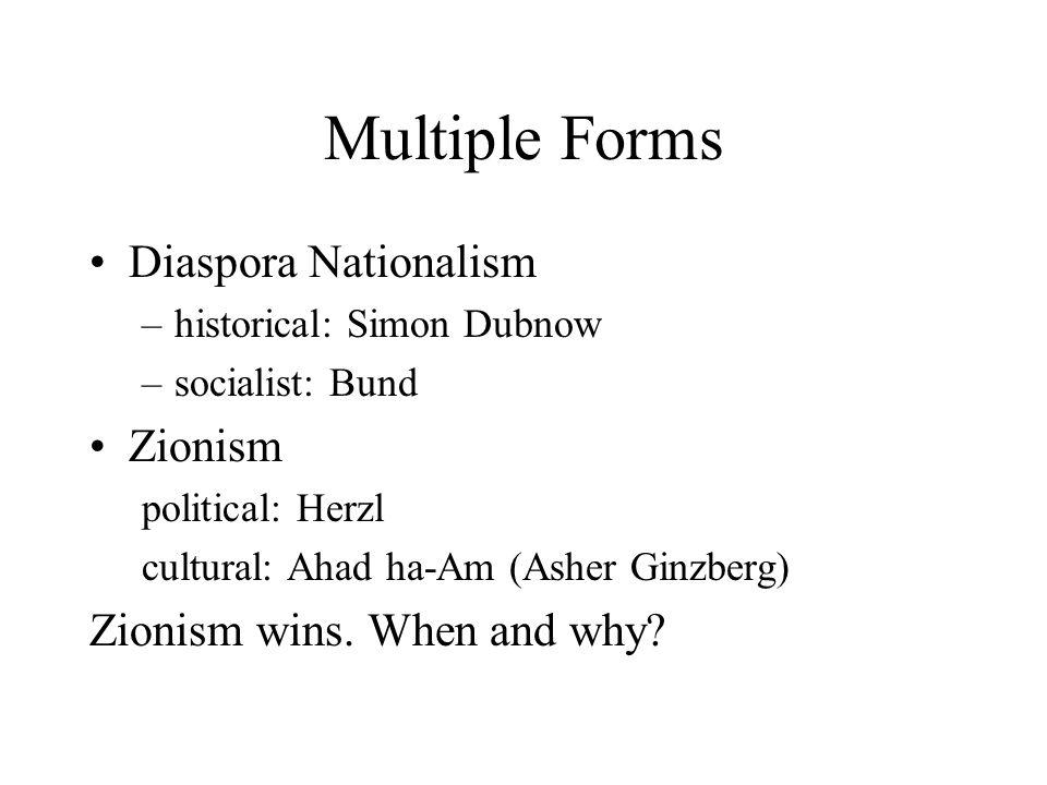 Multiple Forms Diaspora Nationalism –historical: Simon Dubnow –socialist: Bund Zionism political: Herzl cultural: Ahad ha-Am (Asher Ginzberg) Zionism wins.