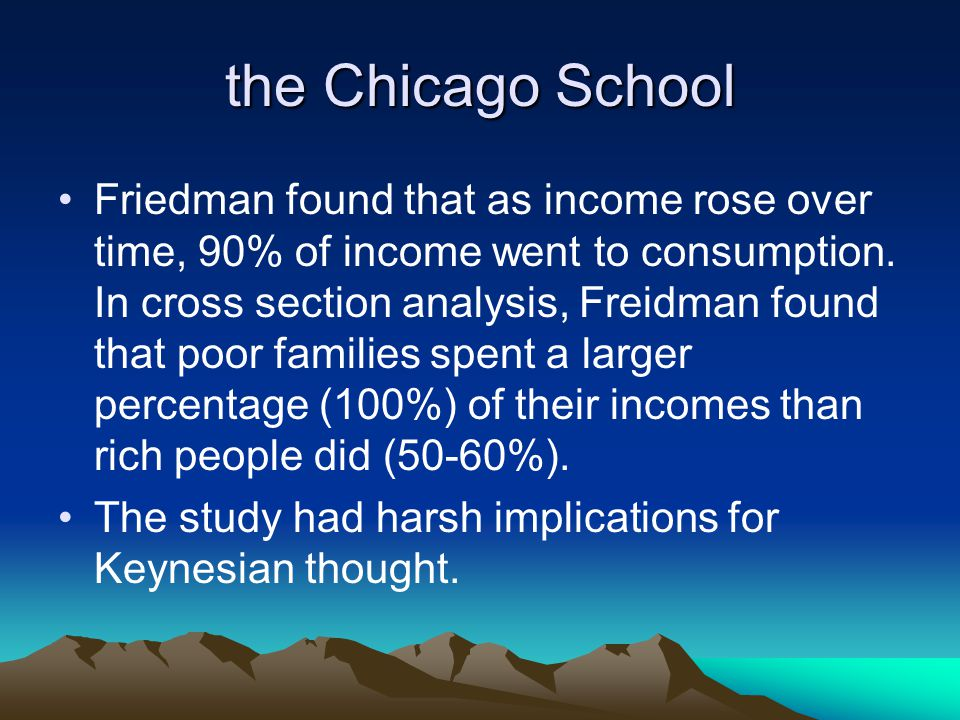 the Chicago School Friedman found that as income rose over time, 90% of income went to consumption.