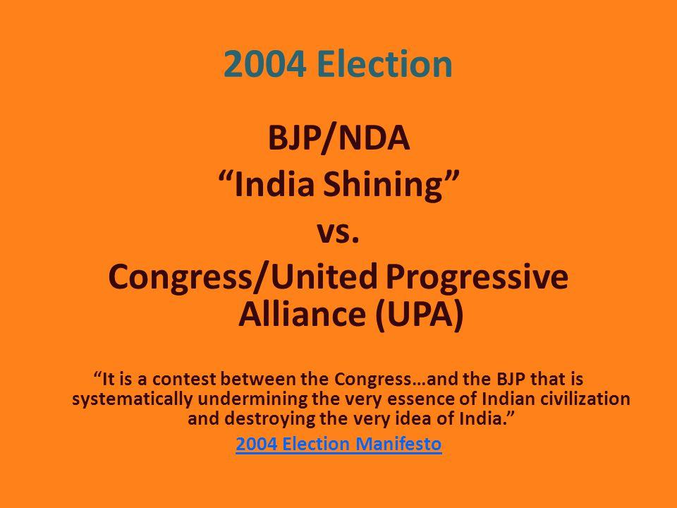 2004 Election BJP/NDA India Shining vs.