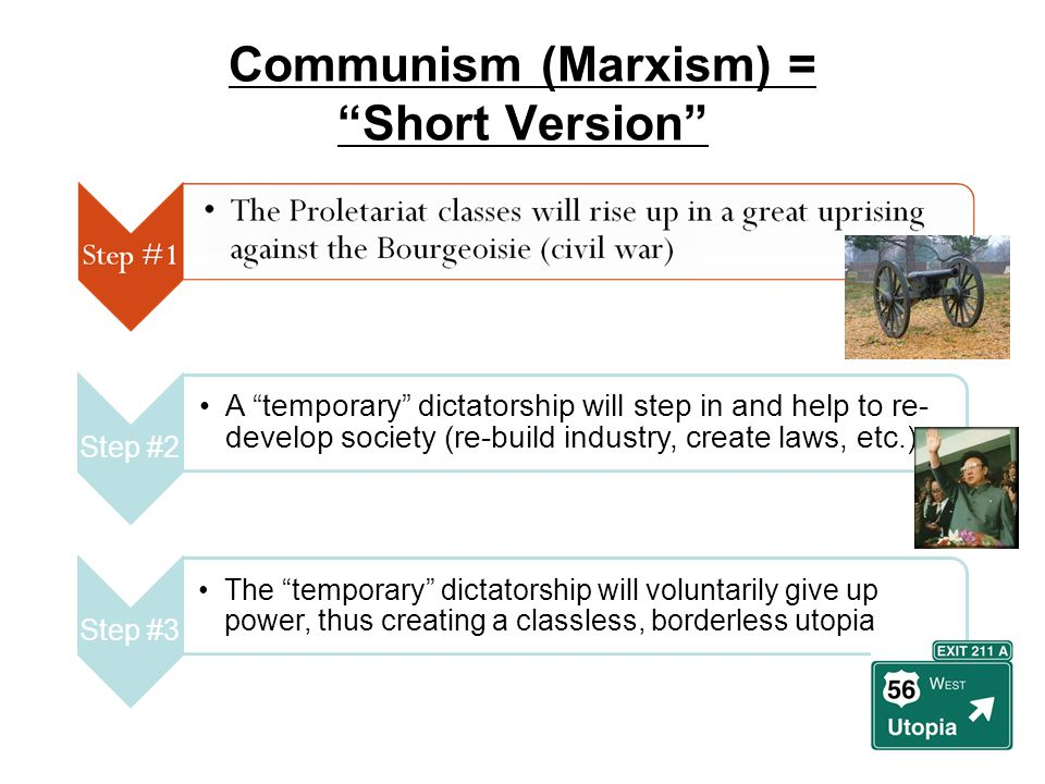 """Communism (Marxism) = """"Short Version"""" Step #2 A """"temporary"""" dictatorship will step in and help to re- develop society (re-build industry, create laws,"""