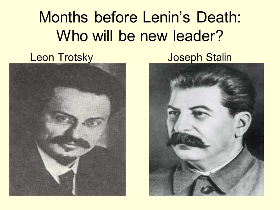 Months before Lenin's Death: Who will be new leader? Leon Trotsky Joseph Stalin