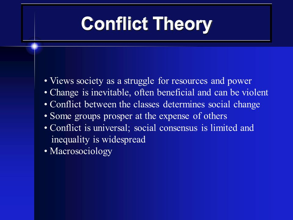 Society is viewed as a complex system of parts (structures) that interact to perform various necessary functions Shared values, norms, attitudes and beliefs (consensus) Change is generally viewed as disruptive and gradual Macrosociology Structural - Functional