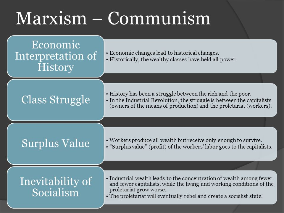 Marxism – Communism Economic changes lead to historical changes. Historically, the wealthy classes have held all power. Economic Interpretation of His