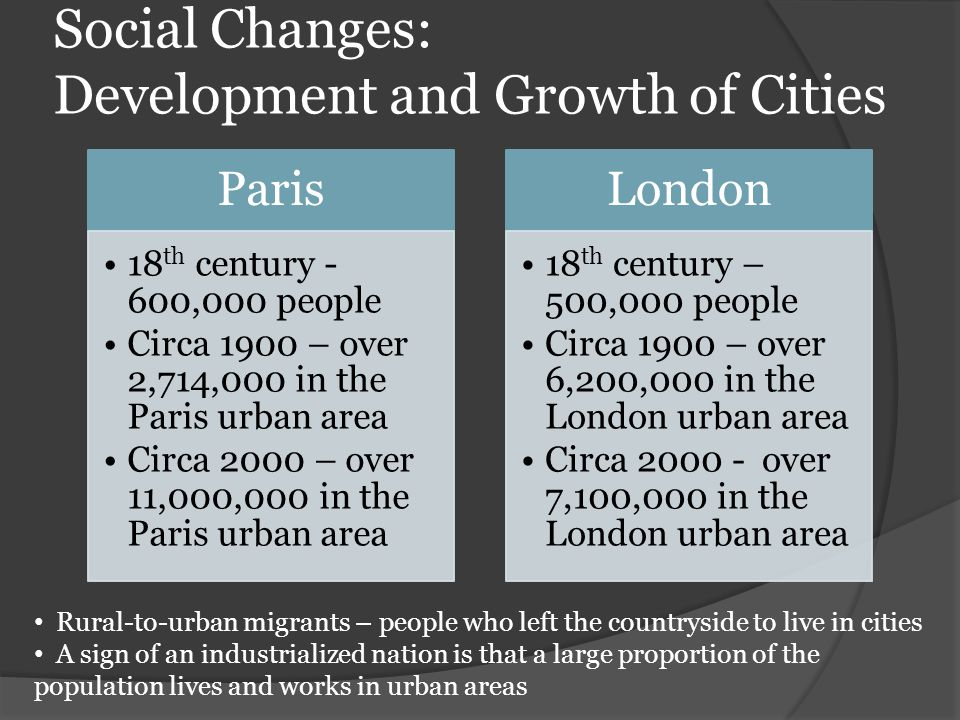 Social Changes: Development and Growth of Cities Paris 18 th century - 600,000 people Circa 1900 – over 2,714,000 in the Paris urban area Circa 2000 –