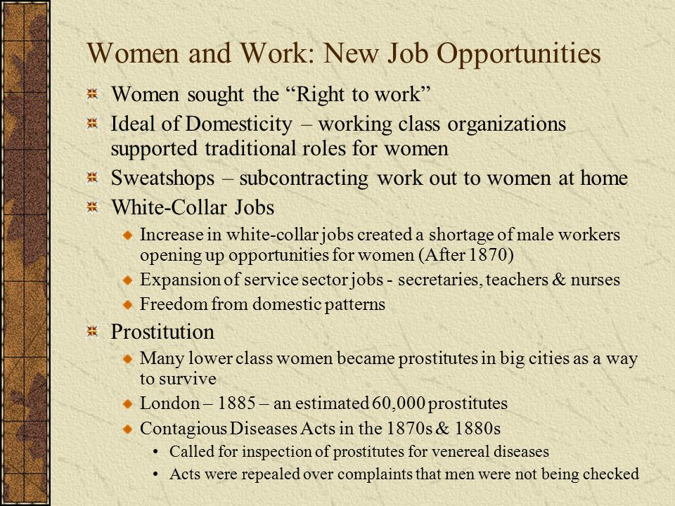 Possible Test Question Employment opportunities for women during the Second Industrial Revolution Changed in quality and quantity with the expansion of the service sector.