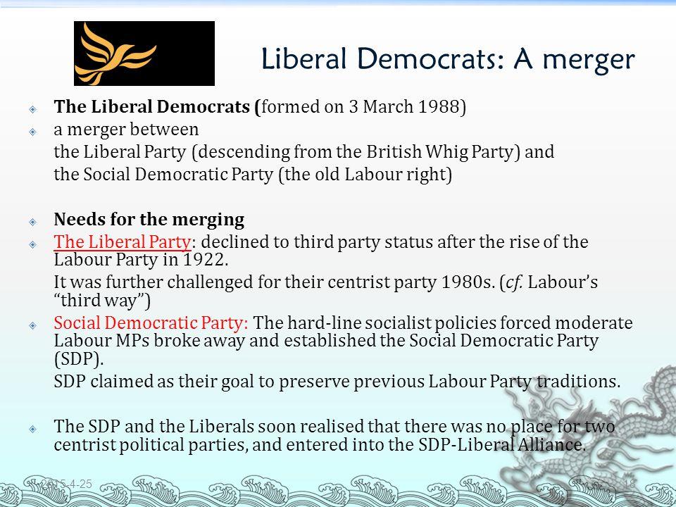 Liberal Democrats: A merger Logo of the Liberal Democrats 2015-4-2517