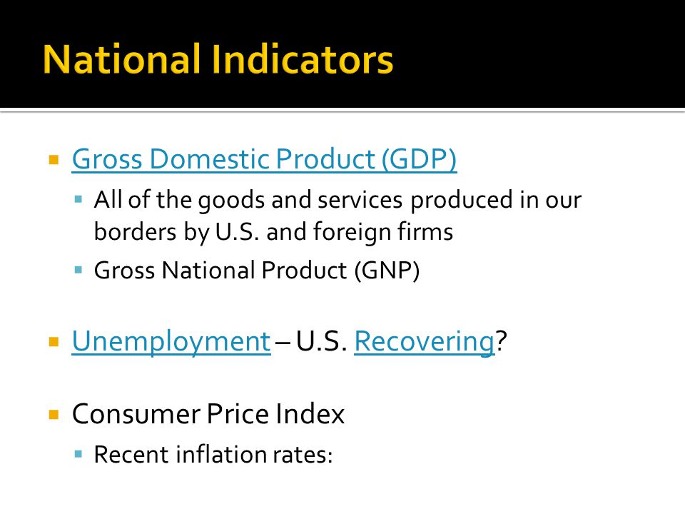  Gross Domestic Product (GDP) Gross Domestic Product (GDP)  All of the goods and services produced in our borders by U.S.