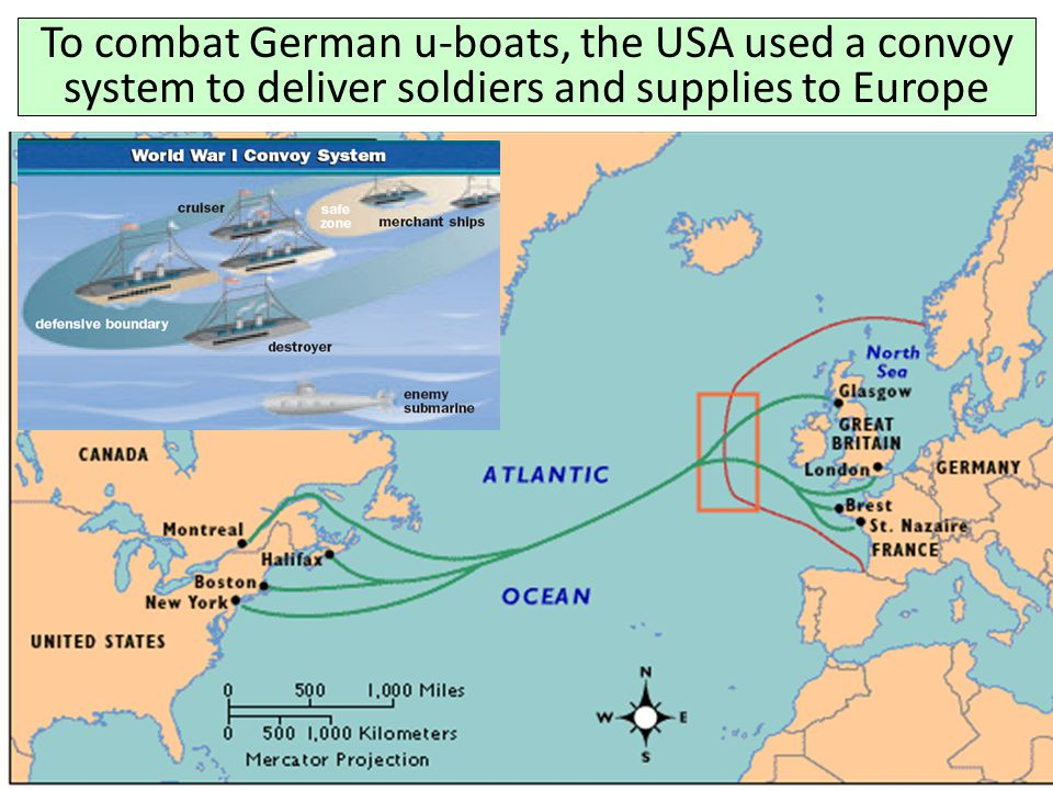 To combat German u-boats, the USA used a convoy system to deliver soldiers and supplies to Europe