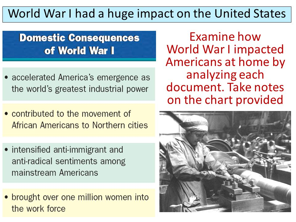 World War I had a huge impact on the United States Examine how World War I impacted Americans at home by analyzing each document. Take notes on the ch