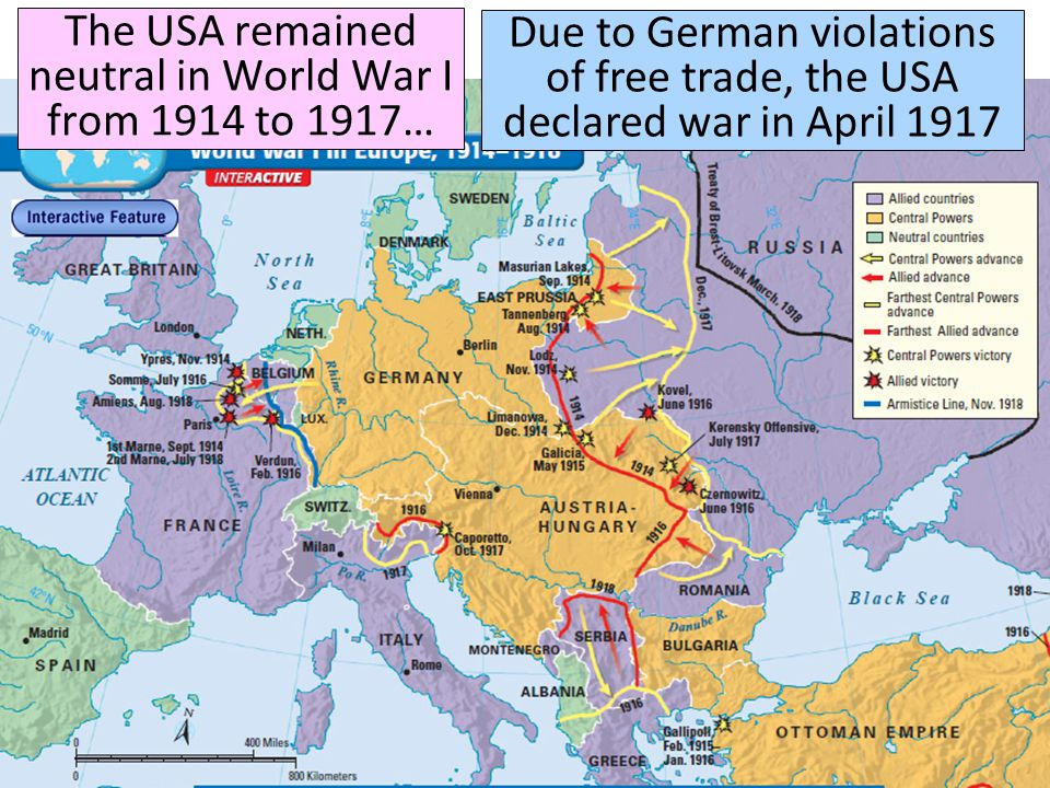 The USA remained neutral in World War I from 1914 to 1917… Due to German violations of free trade, the USA declared war in April 1917