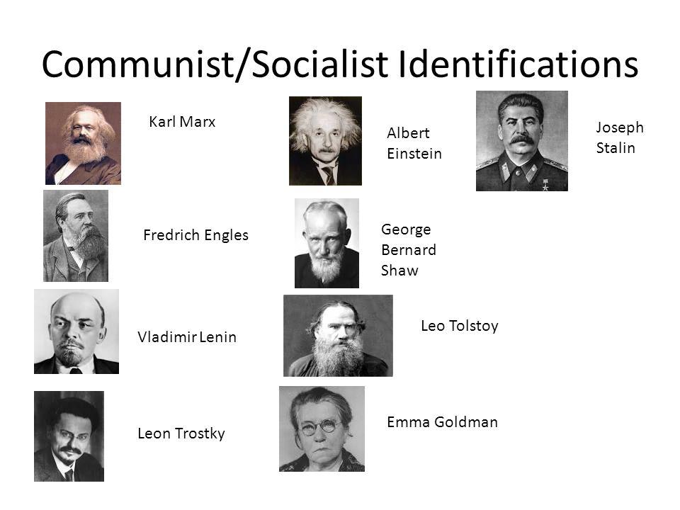 Communist/Socialist Identifications Karl Marx Fredrich Engles Vladimir Lenin Leon Trostky Albert Einstein George Bernard Shaw Leo Tolstoy Emma Goldman Joseph Stalin