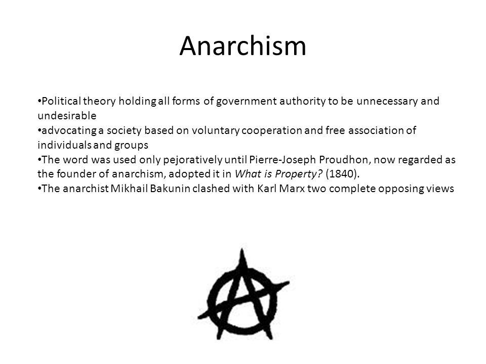 Anarchism Political theory holding all forms of government authority to be unnecessary and undesirable advocating a society based on voluntary coopera