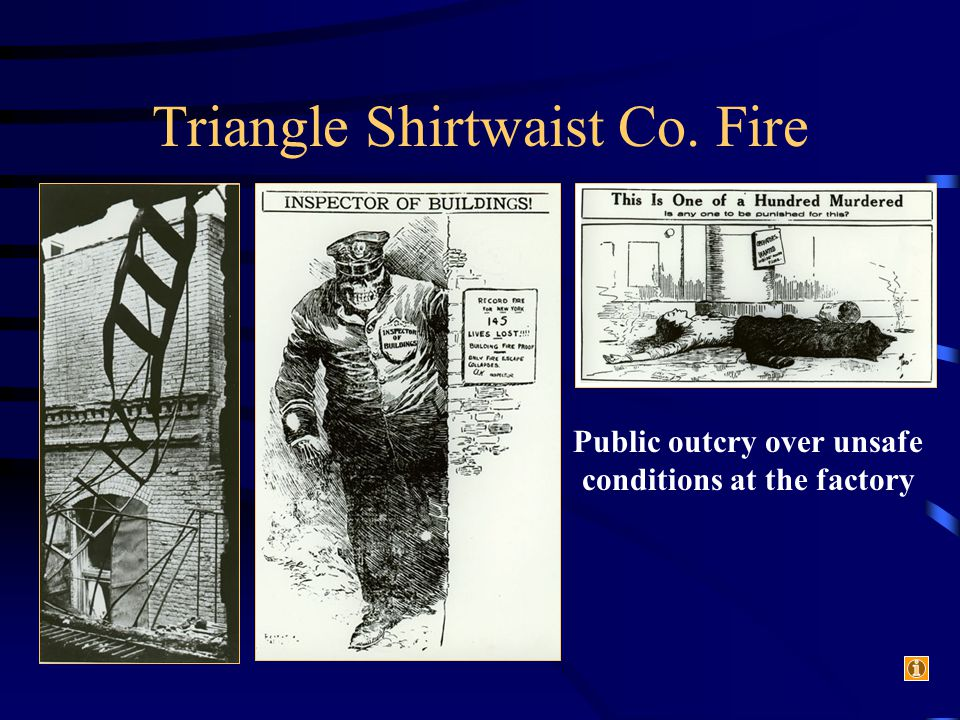 Triangle Shirtwaist Co. Fire Public outcry over unsafe conditions at the factory