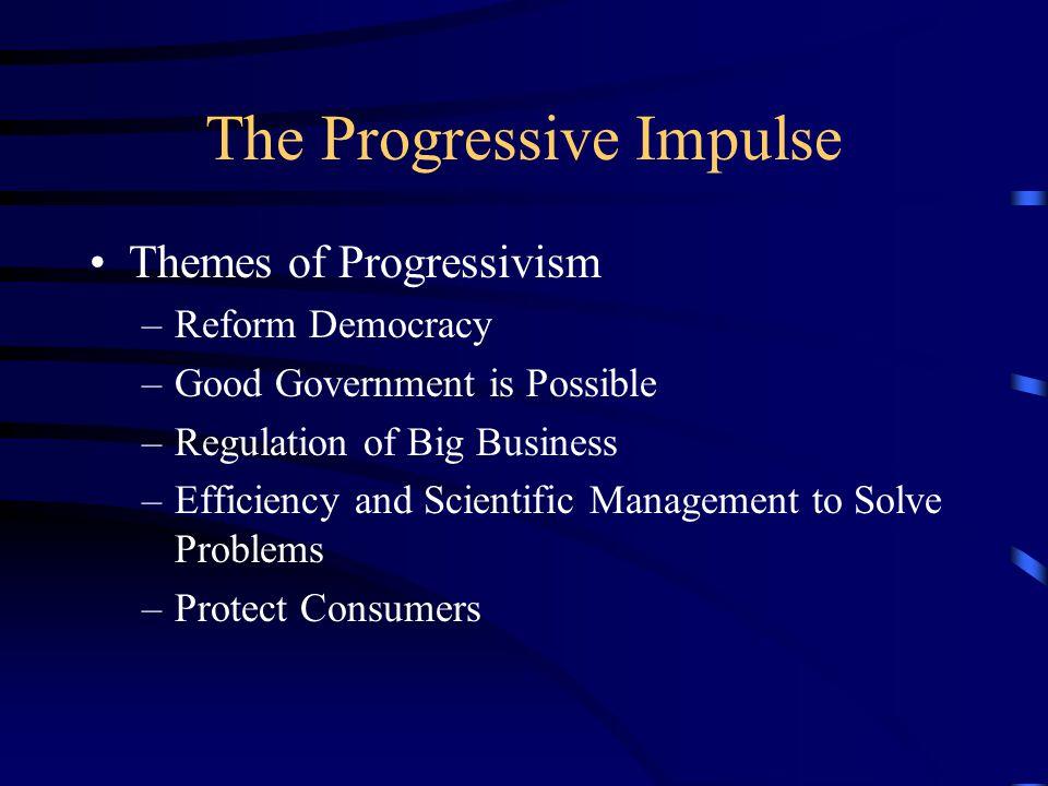 The Progressive Impulse Themes of Progressivism –Reform Democracy –Good Government is Possible –Regulation of Big Business –Efficiency and Scientific