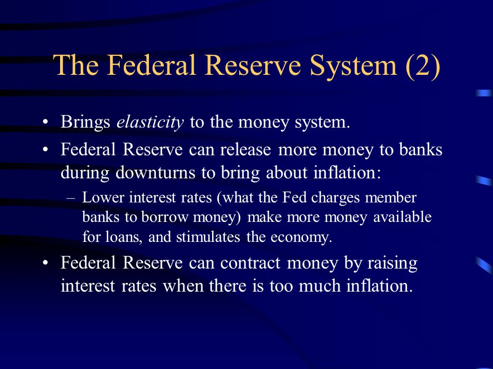 The Federal Reserve System (2) Brings elasticity to the money system.
