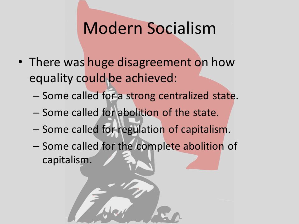 Modern Socialism There was huge disagreement on how equality could be achieved: – Some called for a strong centralized state.