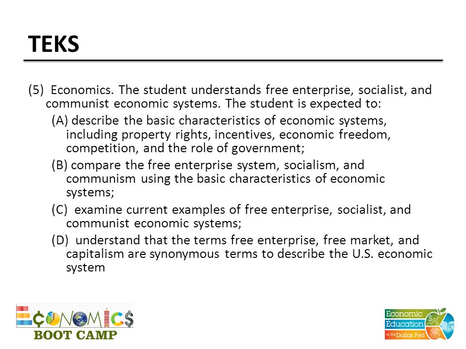 TEKS (5) Economics. The student understands free enterprise, socialist, and communist economic systems. The student is expected to: (A) describe the b