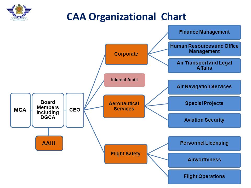 Organization Evolution 1946 (DCA) (Airline, Airports, Air Traffic Services, Regulator) 1951 (DCA) (Airports, Air Traffic Services, Regulator) 1979 (DCA) (Air Traffic Services, Regulator) 1983 (DCA) (Regulator) 2002 (CAA) Air CeylonAirports Authority Airports and Aviation Services (S.L.) Ltd