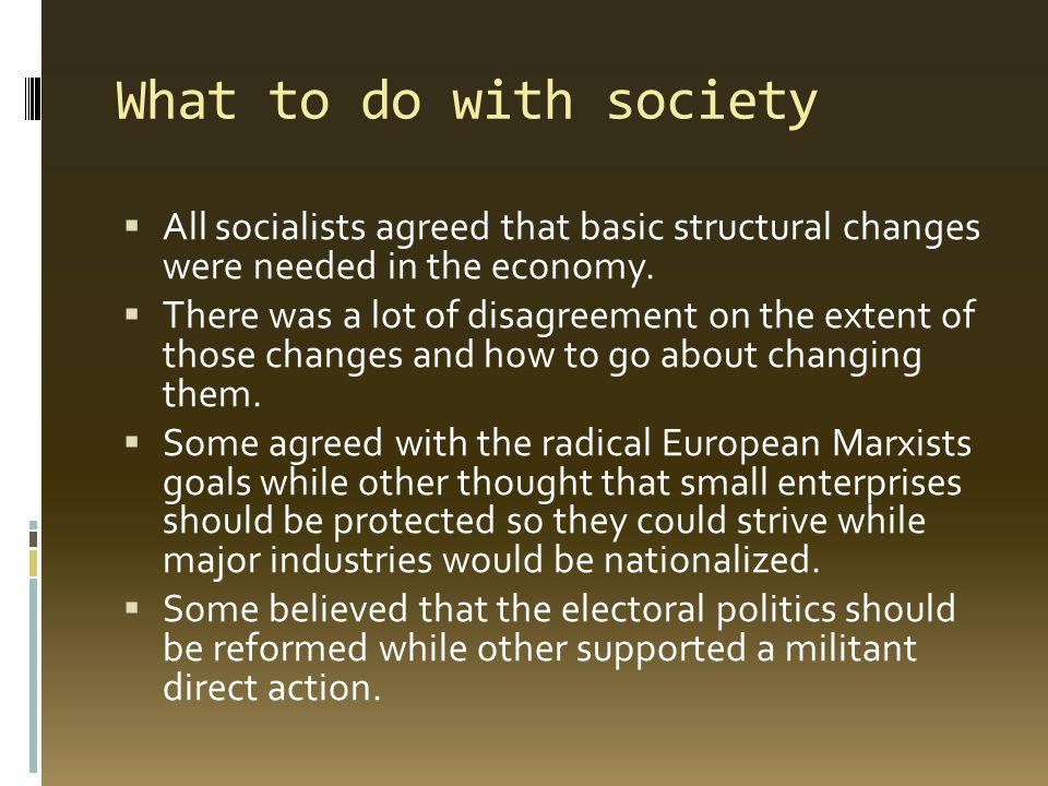 What to do with society  All socialists agreed that basic structural changes were needed in the economy.