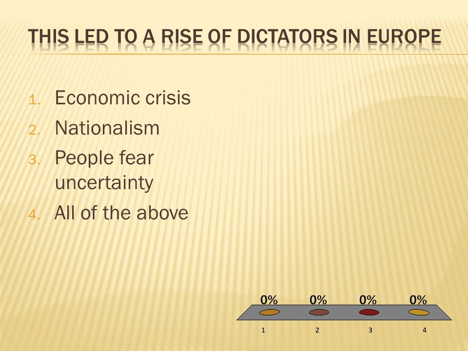 1. Economic crisis 2. Nationalism 3. People fear uncertainty 4. All of the above