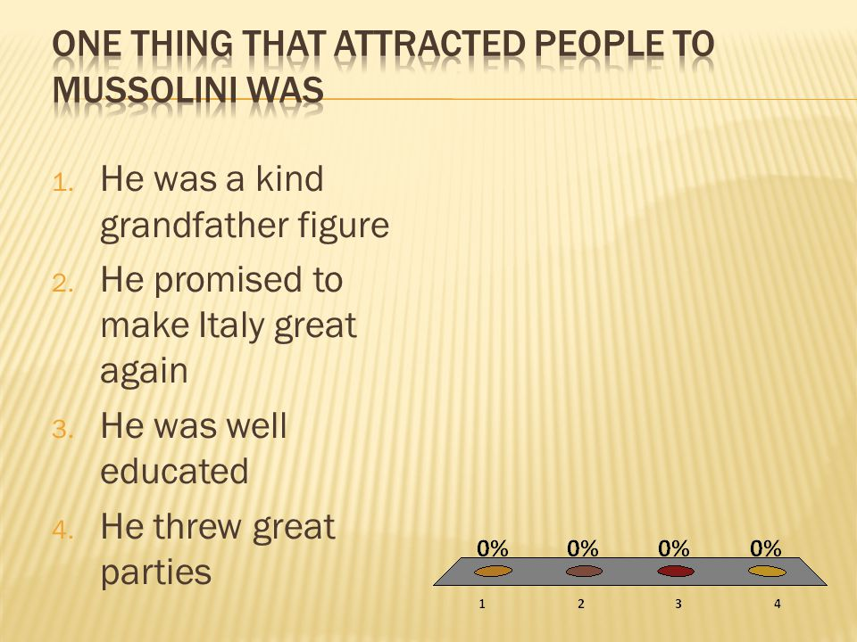 1. He was a kind grandfather figure 2. He promised to make Italy great again 3. He was well educated 4. He threw great parties