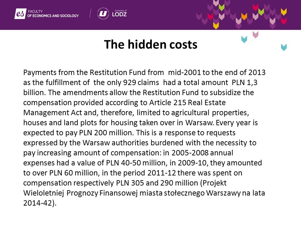 The hidden costs Payments from the Restitution Fund from mid-2001 to the end of 2013 as the fulfillment of the only 929 claims had a total amount PLN 1,3 billion.