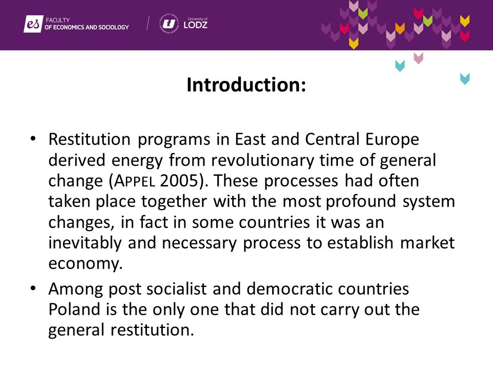 Introduction: Restitution programs in East and Central Europe derived energy from revolutionary time of general change (A PPEL 2005).