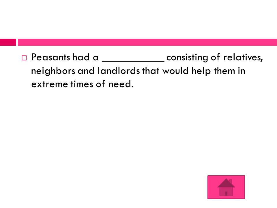 Peasants had a ___________ consisting of relatives, neighbors and landlords that would help them in extreme times of need.